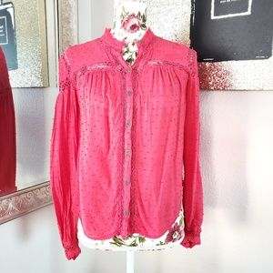 Free People | Strawberry Pink Button Down Blouse